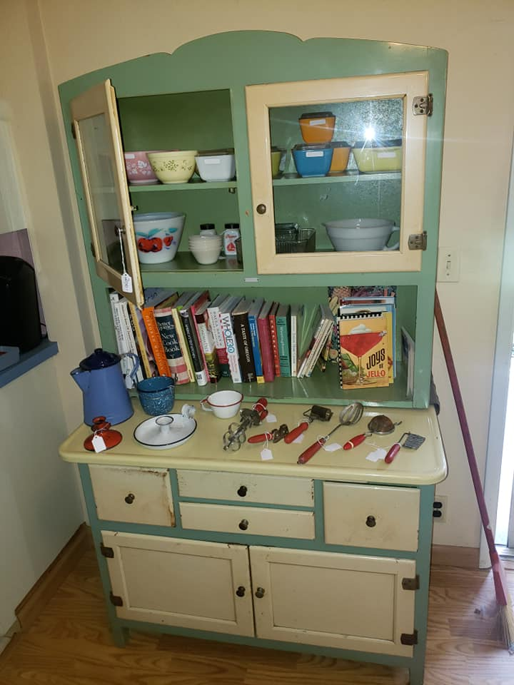 image of farmhouse cabinet and other heirlooms
